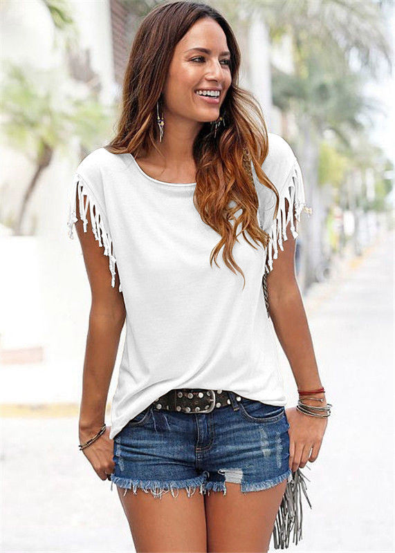 Round Neck Short Sleeve Tassel Soft Cotton T-Shirt - Oh Yours Fashion - 8