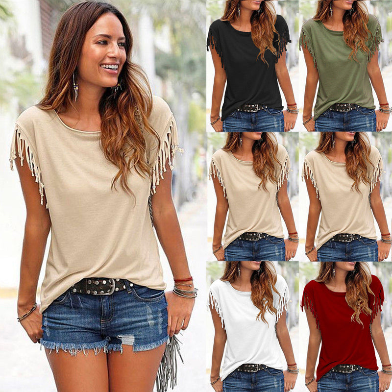Round Neck Short Sleeve Tassel Soft Cotton T-Shirt - Oh Yours Fashion - 1