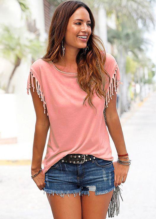 Round Neck Short Sleeve Tassel Soft Cotton T-Shirt - Oh Yours Fashion - 11