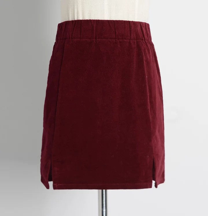 High Waist Pure Color Split Corduroy Slim Short Skirt - Oh Yours Fashion - 5
