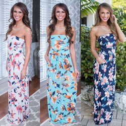 Print Strapless Backless Sleeveless Colorful Long Dress - Oh Yours Fashion - 1