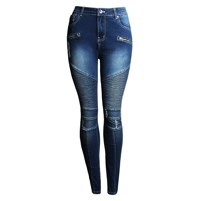 Patchwork Subtle Ruffle Scratchy Pencil Denim Jeans