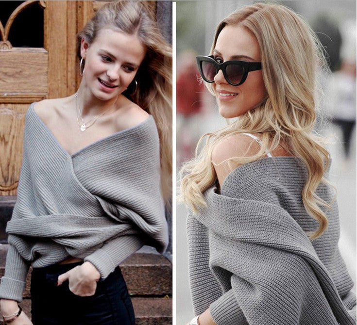 Ribbed Knit Strapless V-neck Off Shoulder Sweater - Oh Yours Fashion - 3