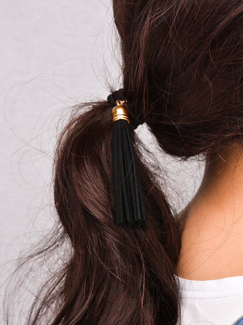 Black Lint Tassel Hair Clips - Oh Yours Fashion - 2