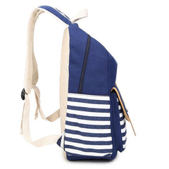 Stripe Print Canvas Backpack School Travel Bag - Oh Yours Fashion - 7