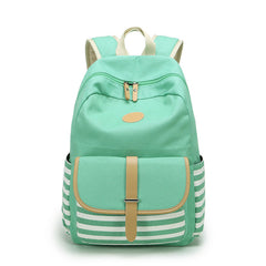 Stripe Print Canvas Backpack School Travel Bag - Oh Yours Fashion - 6