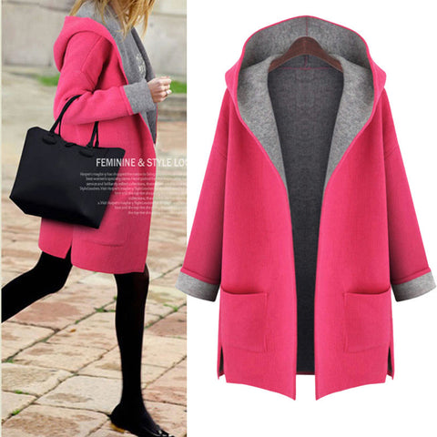 Hooded Long Sleeves Casual  Plus Size Mid-length Wool Coat