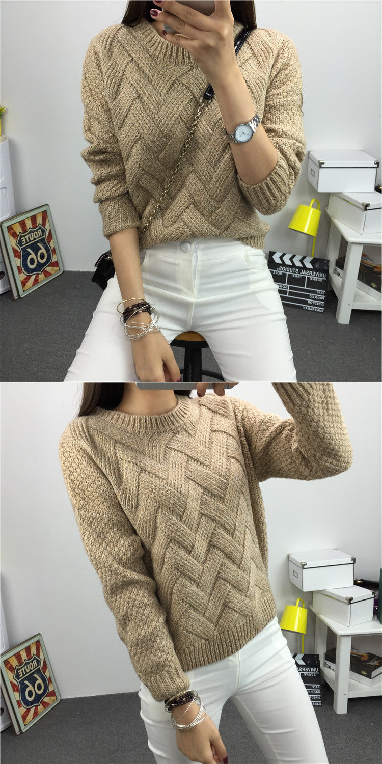 Dropped Shoulder Scoop 3/4 Sleeves Solid Pullover Sweater - Oh Yours Fashion - 7