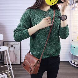 Dropped Shoulder Scoop 3/4 Sleeves Solid Pullover Sweater - Oh Yours Fashion - 2