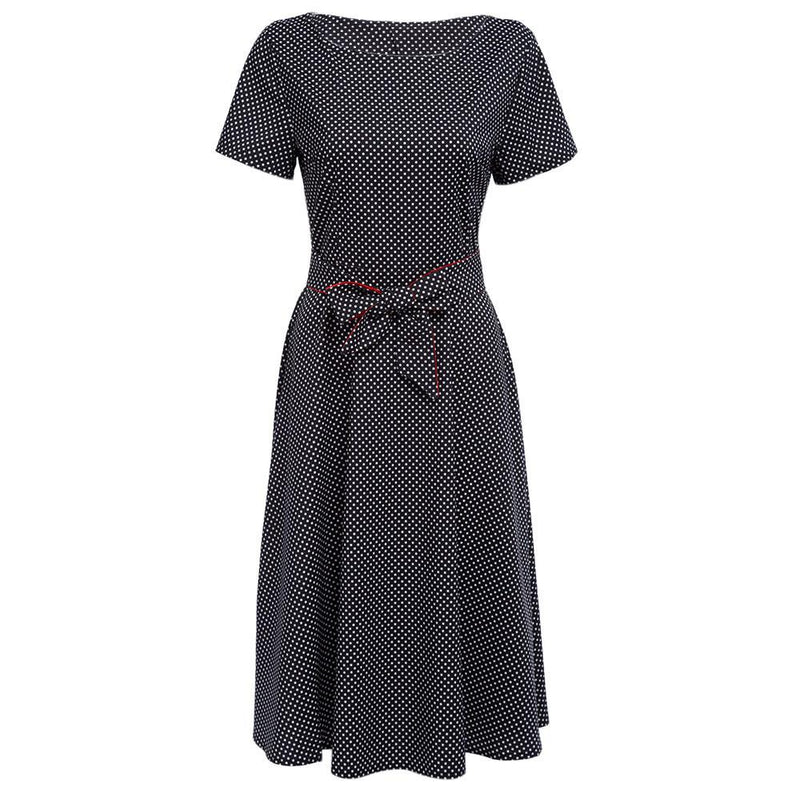 Retro Hepburn Style Point A-line Long Dress