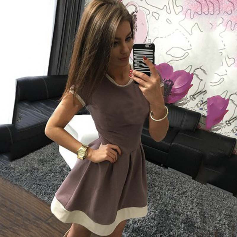 Pure Color O-neck Short Sleeve Short Dress - Oh Yours Fashion - 7