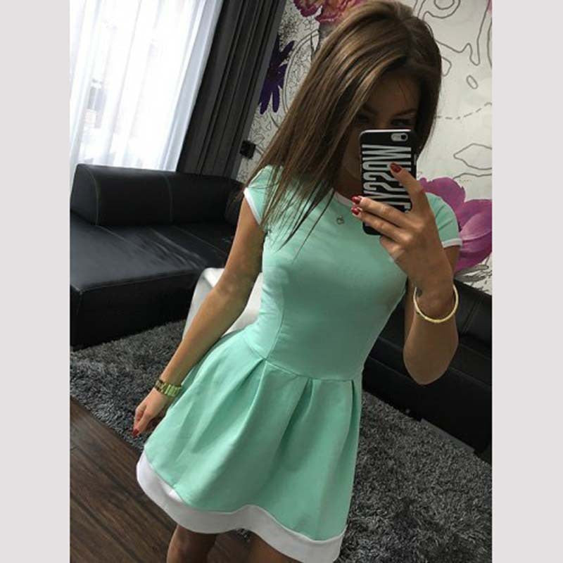 Pure Color O-neck Short Sleeve Short Dress - Oh Yours Fashion - 6