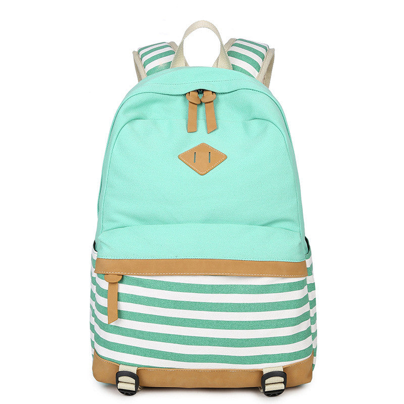 Stripe Print Fashion Canvas Backpack School Travel Bag - Oh Yours Fashion - 1