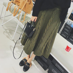 Winter A-line Pure Color Braid Knit Long Skirt - Oh Yours Fashion - 2