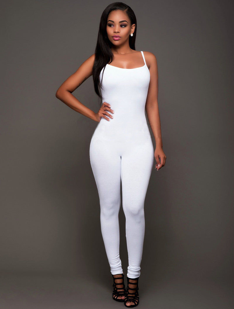 Spaghetti Strap Pure Color Backless Long Slim Jumpsuit - Oh Yours Fashion - 2