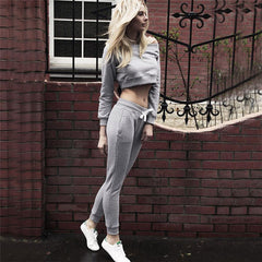 Off Shoulder Solid Color Navel Crop Top Pants Activewear - Oh Yours Fashion - 3