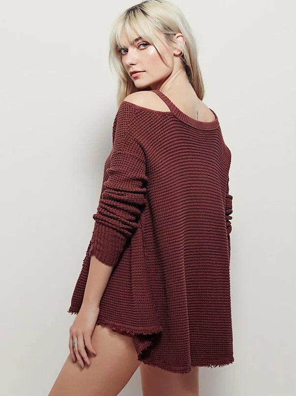 Street Style Bare Shoulder Loose Long Sweater - Oh Yours Fashion - 6