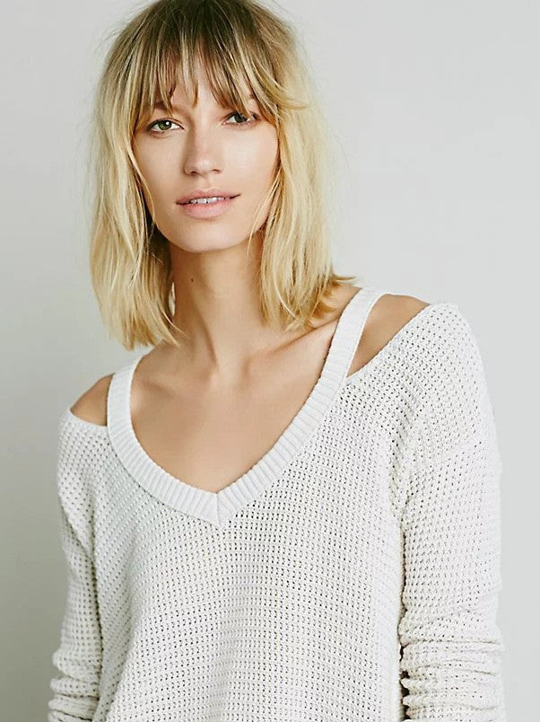 Street Style Bare Shoulder Loose Long Sweater - Oh Yours Fashion - 10