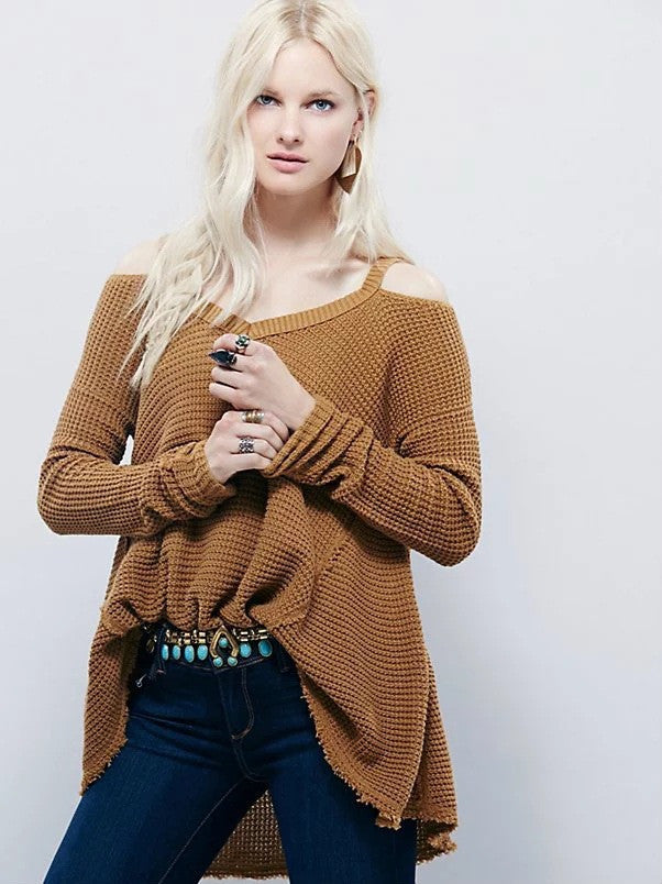 Street Style Bare Shoulder Loose Long Sweater - Oh Yours Fashion - 8