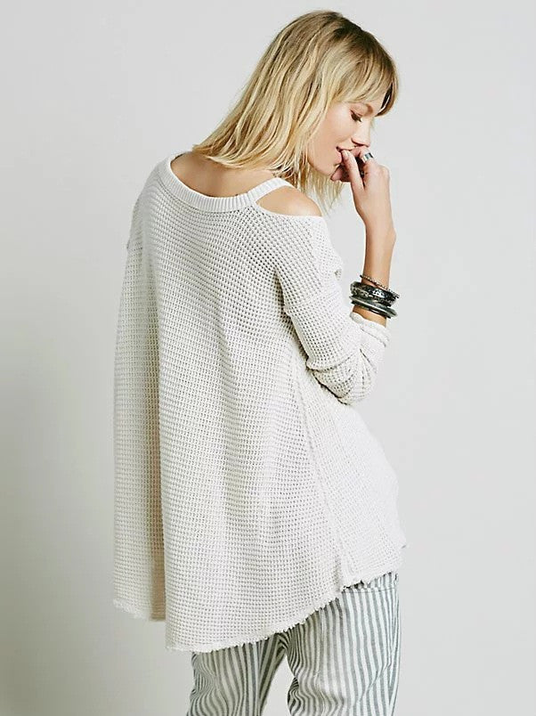 Street Style Bare Shoulder Loose Long Sweater - Oh Yours Fashion - 9