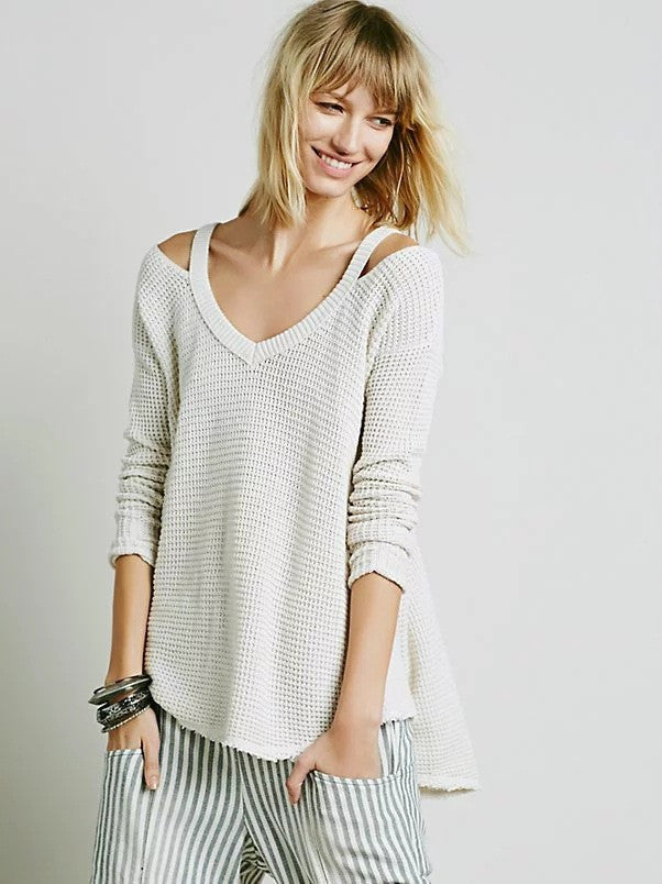 Street Style Bare Shoulder Loose Long Sweater - Oh Yours Fashion - 3