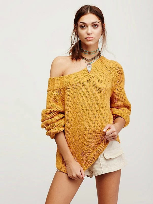 Sexy Off Shoulder Loose Knitting Sweater - Oh Yours Fashion - 6