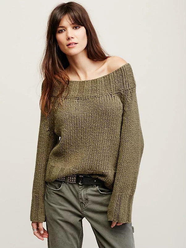 Sexy Off Shoulder Loose Knitting Sweater - Oh Yours Fashion - 3