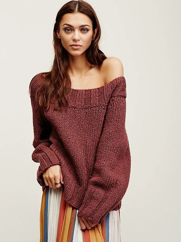 Sexy Off Shoulder Loose Knitting Sweater - Oh Yours Fashion - 5