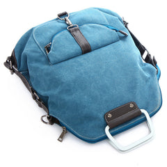 Foldable Pure Color Leather Hardware Canvas Backpack - Oh Yours Fashion - 8