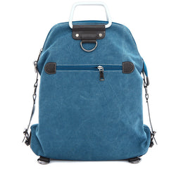 Foldable Pure Color Leather Hardware Canvas Backpack - Oh Yours Fashion - 7