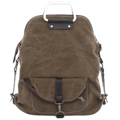 Foldable Pure Color Leather Hardware Canvas Backpack - Oh Yours Fashion - 6