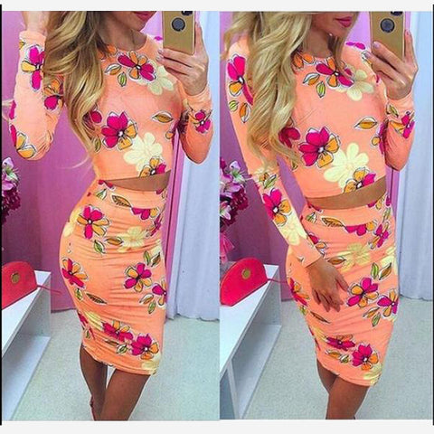 Scoop Long Sleeves Print T-shirt Bodycon Knee-length Skirt Dress Set