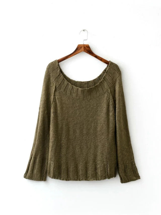 Sexy Off Shoulder Loose Knitting Sweater - Oh Yours Fashion - 7