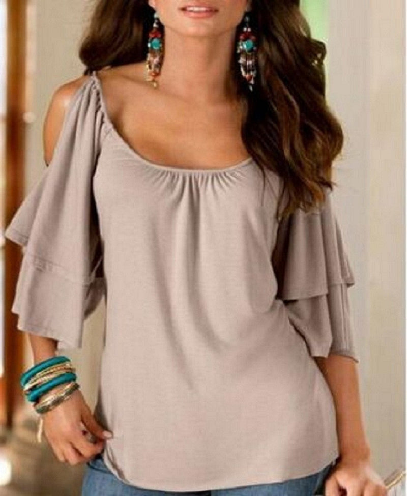 Dew Shoulder Double Layer 1/2 Sleeve Scoop Blouse - Oh Yours Fashion - 8