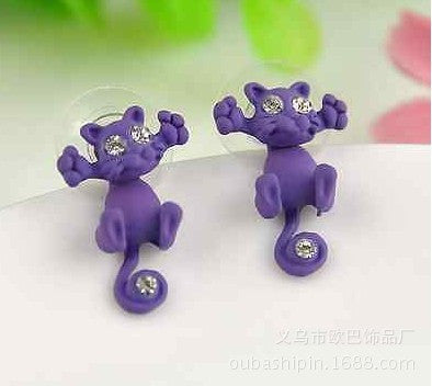 Creative Lovely Cat Stud Earrings - Oh Yours Fashion - 3