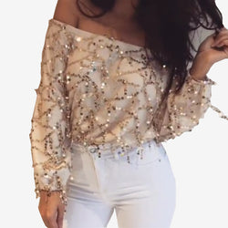 Sequins Tassel Off Shoulder Long Sleeve Short Jumpsuit - Oh Yours Fashion - 2