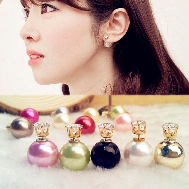 Fashion Crystal Zircon Double Pearl Earring - Oh Yours Fashion - 1
