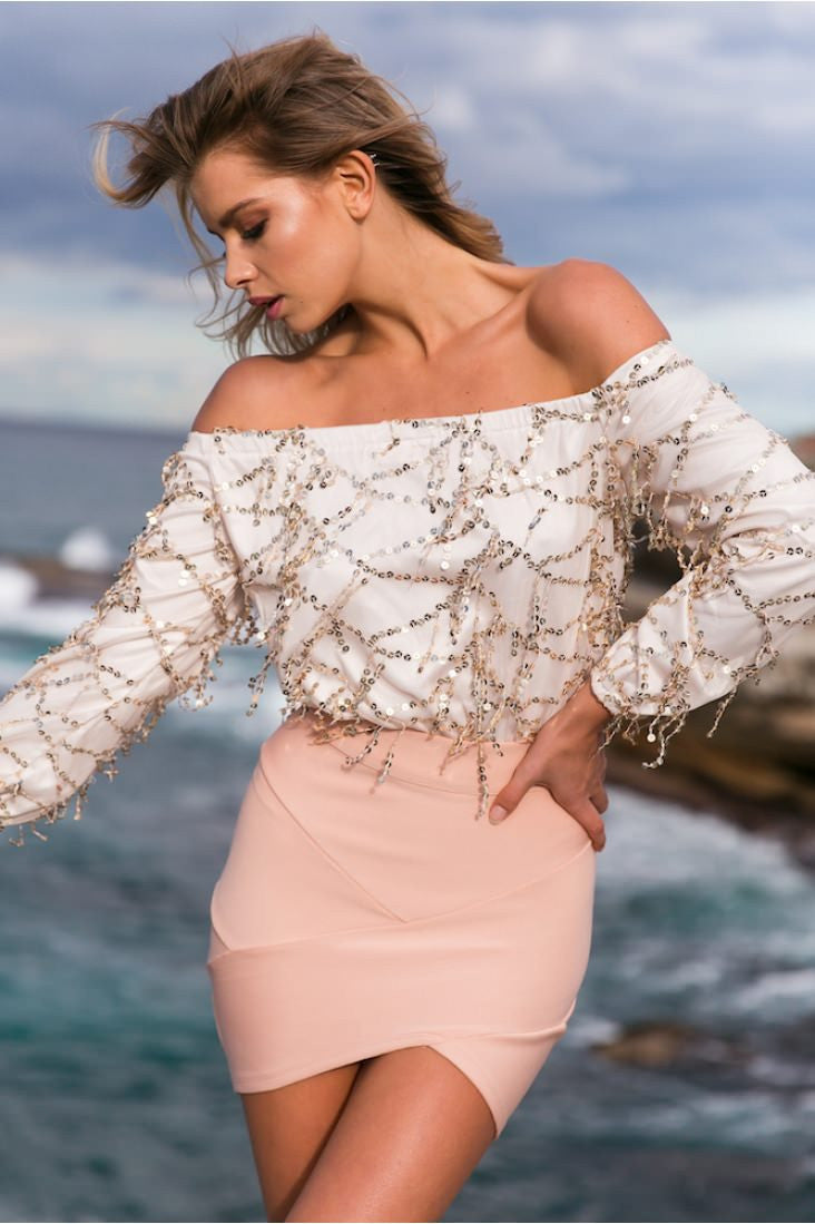Sequins Tassel Off Shoulder Long Sleeve Short Jumpsuit - Oh Yours Fashion - 1