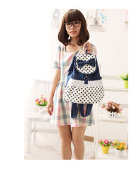 Sweet Polka Dot Lace Bowknot School Backpack Travel Bag - Oh Yours Fashion - 2