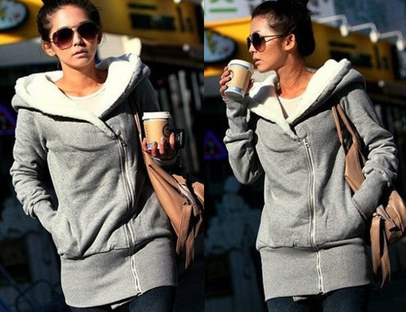 Korean Women Zip Fleece Warm Hoodie - O Yours Fashion - 2