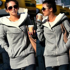 Korean Women Zip Fleece Warm Hoodie - O Yours Fashion - 1