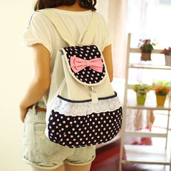 Sweet Polka Dot Lace Bowknot School Backpack Travel Bag - Oh Yours Fashion - 1