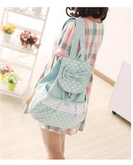 Sweet Polka Dot Lace Bowknot School Backpack Travel Bag - Oh Yours Fashion - 5
