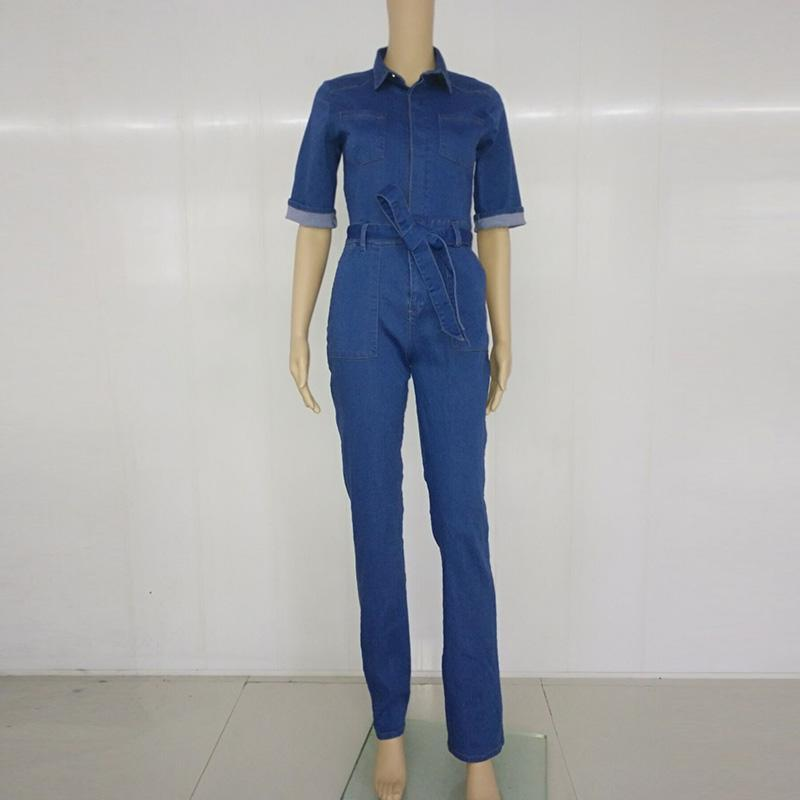 Short sleeves Slim-fit Wide-leg Long Women Denim Jumpsuit