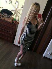 2017 Sexy Fashion Hot Sale  Striped Low-cup Slim Straps Dress