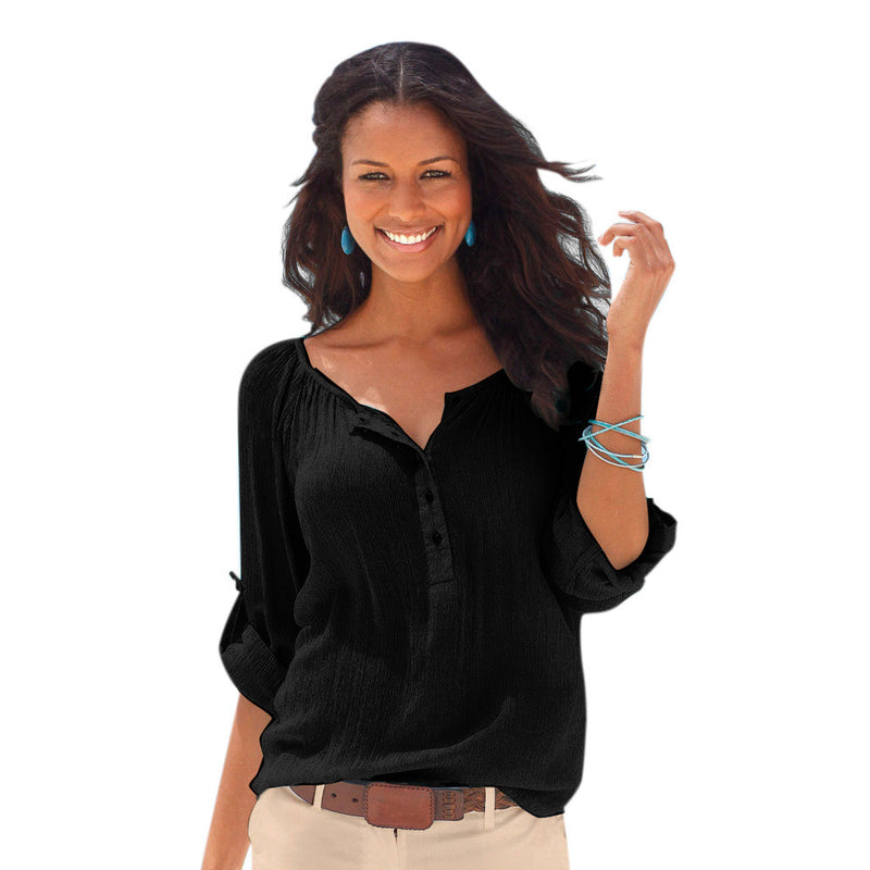 Fashion Long Sleeve V Neck Pure Color Loose Shirt Blouse - Oh Yours Fashion - 4