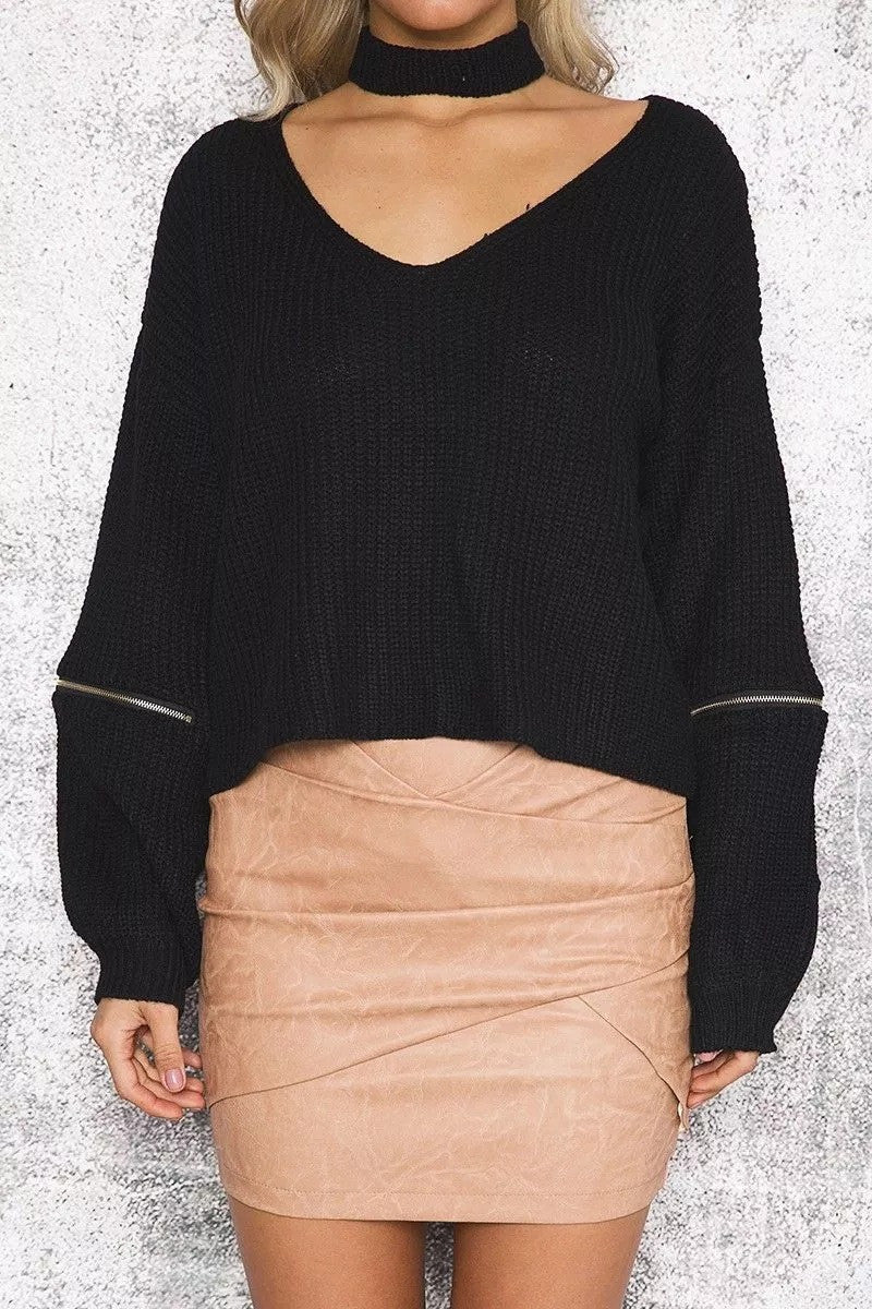 Sexy Halter Hollow Out Zipper Sleeve Sweater - Oh Yours Fashion - 4