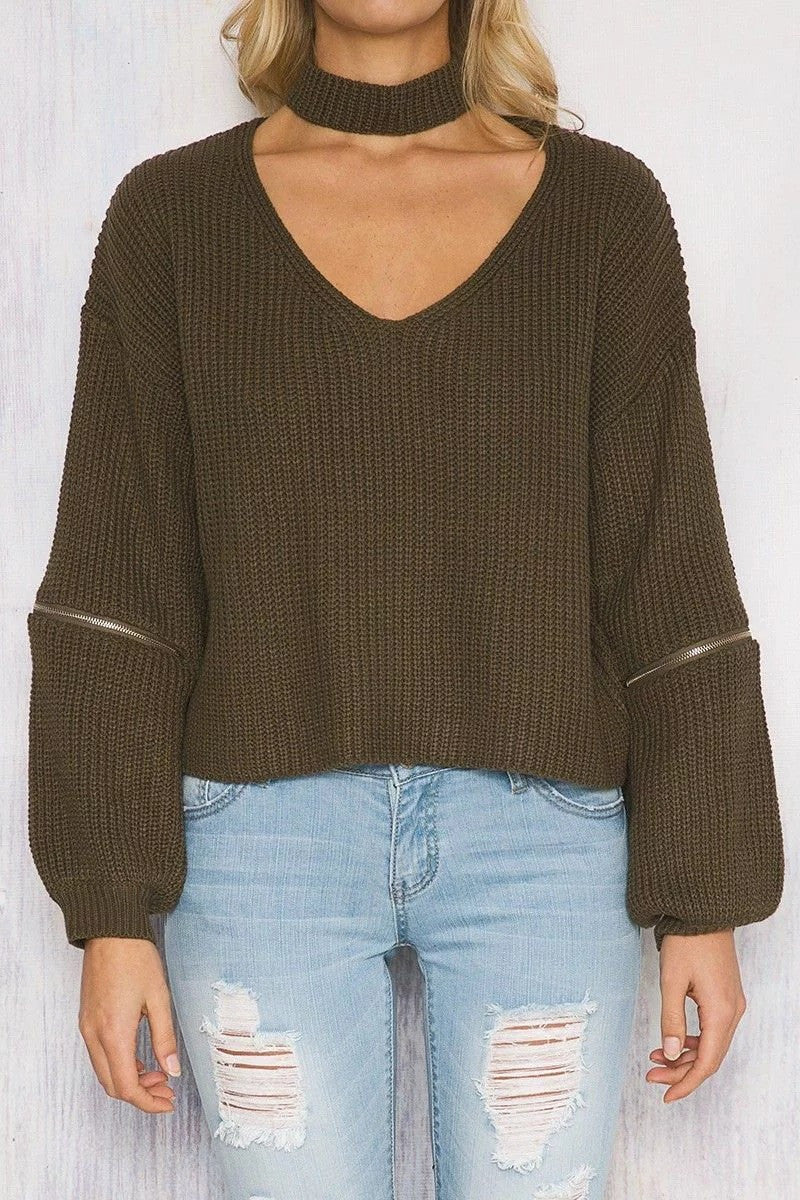 Sexy Halter Hollow Out Zipper Sleeve Sweater - Oh Yours Fashion - 7