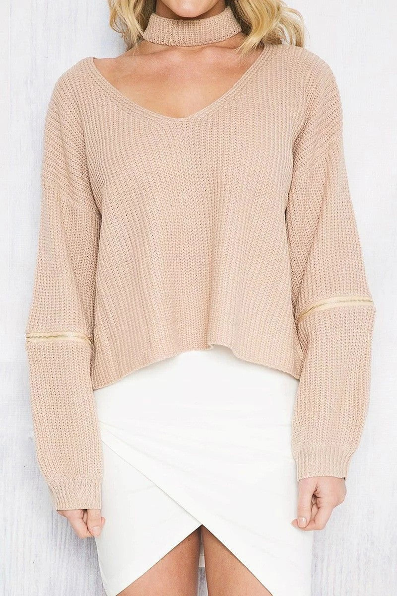 Sexy Halter Hollow Out Zipper Sleeve Sweater - Oh Yours Fashion - 3