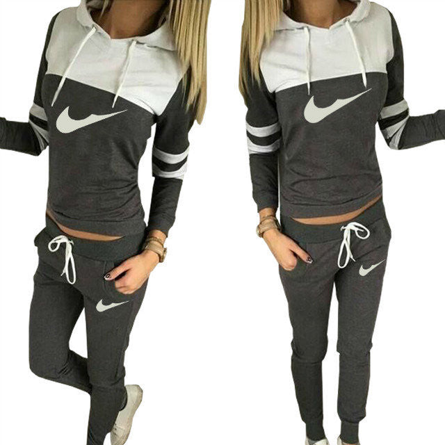Hooded Blouse Drawstring Long Pant Patchwork Activewear Set - Oh Yours Fashion - 4